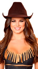 Brown Cowgirl Hat - Brown