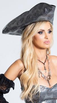 Skull Embossed Pirate Hat