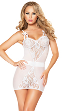Plus Size Two-Piece Lace Chemise and G-String Set - White
