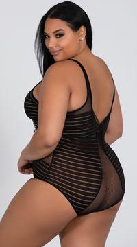 Plus Size Striped Cut-Out Teddy - Black