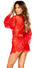 Draping Eyelash Lace Robe - Red