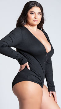 Plus Size Cozy and Comfy Sweater Romper - Black