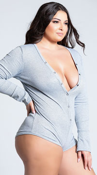 Plus Size Cozy and Comfy Sweater Romper - Grey