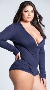 Plus Size Cozy and Comfy Sweater Romper - Navy