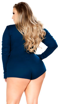 2eacea258d5 ... Plus Size Cozy and Comfy Sweater Romper - Navy ...