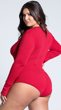 Plus Size Cozy and Comfy Sweater Romper - Burgundy
