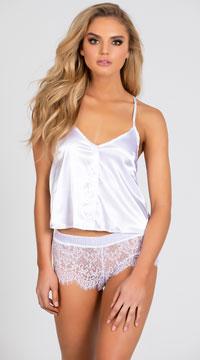 Elegant Satin Pajama Set - White