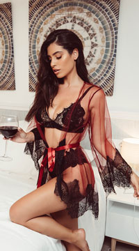 Enchanting Eyelash Lace Robe - Burgundy/Black