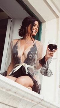 Enchanting Eyelash Lace Robe - Nude/Black
