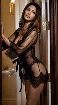 Enchanting Eyelash Lace Robe - Black