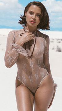 Nude Sheer Elegance Teddy - Beige
