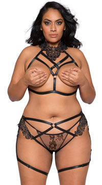 Plus Size Cage Me In Open Cup Bra Set - Black