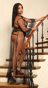 Plus Size Black Sheer Elegance Long Robe - Nude/Black