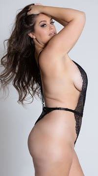 Plus Size Simply Stunning Low Plunge Teddy - Black