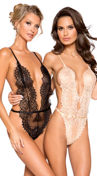 Nude Simply Stunning Low Plunge Teddy - as shown