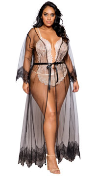 Plus Size Sheer Elegance Long Robe - as shown
