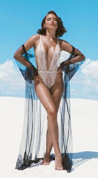 Nude Sheer Elegance Long Robe - Nude/Black
