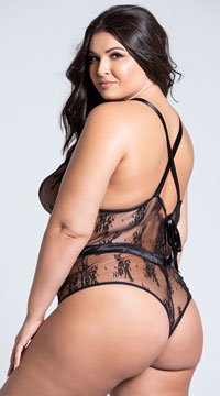 Plus Size Satin and Lace Black Contrast Teddy - Black