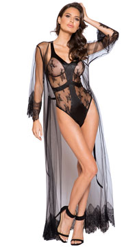 Satin and Lace Black Contrast Teddy - Black