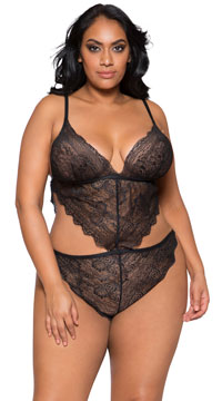 Plus Size Turn Me On Lace Cut-out Teddy - Black