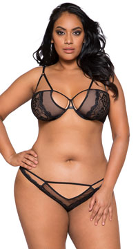 Plus Size Sheer Mesh Strappy Bra Set - Black