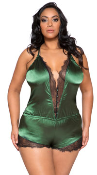 Plus Size Elegant Green Eyelash Lace and Satin Romper - Green/Black