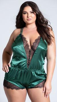 Plus Size Elegant Green Eyelash Lace and Satin Romper - Green/Black