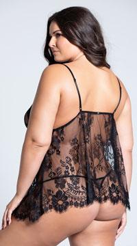 Plus Size Elegant Eyelash Lace Babydoll Set - Black