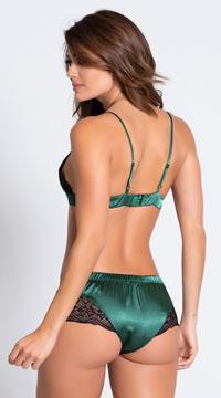 Green As Envy Satin Bra and Short Set - Green/Black