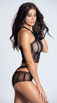 Netted Cut-Out Bra Set - Black