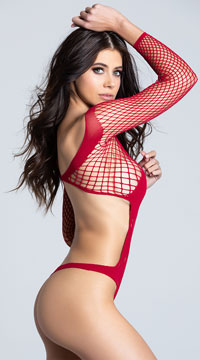 Ridiculously Red Crotchless Teddy - Red