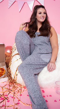 Plus Size Comfy Pajama Pocket Jumpsuit - Grey