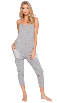Comfy Pajama Pocket Jumpsuit - Grey