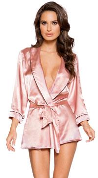 Elegant Pink Satin Robe - Pink