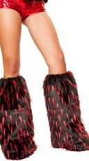 Two Tone Furry Leg Warmers - Black/Red