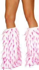Two Tone Furry Leg Warmers - White/Hot Pink