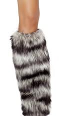 Black and Grey Faux Fur Legwarmers