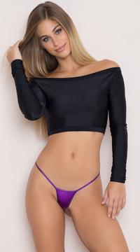 Metallic Micro Thong - Purple