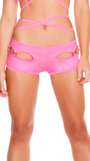 Solid Sexy Side Cut Out Shorts - Hot Pink