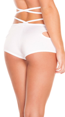 Solid Sexy Side Cut Out Shorts - White