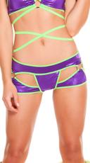 Metallic Cut-Out Shorts - Purple/Lime