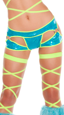 Metallic Cut-Out Shorts - Turquoise/Yellow