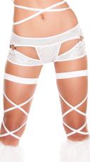 Metallic Cut-Out Shorts - White/White