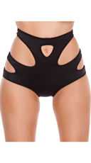 High Waisted Shorts with Cut Outs - Black