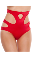 High Waisted Shorts with Cut Outs - Red