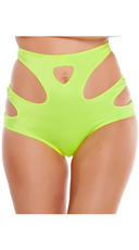 High Waisted Shorts with Cut Outs - Lime