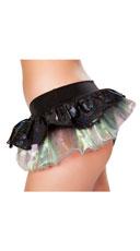 Iridescent Skirted Mermaid Shorts - Black