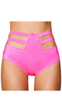 High Waisted Cut-Out Shorts - Hot Pink