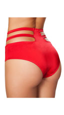 High Waisted Cut-Out Shorts - Red