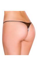 Metallic Thong Panty - Gunmetal